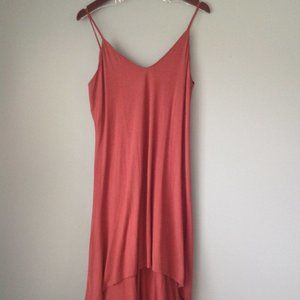 Double Zero-Rust red high-low tank dress